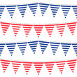 Horizontal stripes patterned flags on gray rope blue and red holiday celebration decoration bunting seamless pattern on white background — Stock Vector