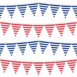 Horizontal stripes patterned flags on gray rope blue and red holiday celebration decoration bunting seamless pattern on white background — Stock Vector #26753857