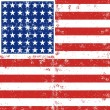 Blue red white stripes and stars grunge patterned american flag background — Stok Vektör