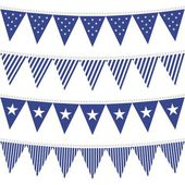 Star and stripes patterned triangle shaped flags blue bunting set — Stock Vector