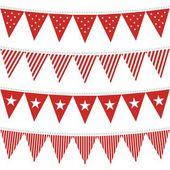 üçgen şeklinde bayraklar kırmızı kiraz kuşu set star ve çizgili desenli — Stok Vektör