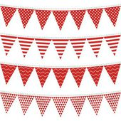 Dots stripes chevron triangles patterned flags on gray rope red holiday celebration decoration bunting set colorful isolated elements on white background — Stock Vector