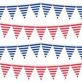 Paski pozioma wzorzyste flagi na lina szary niebieski i czerwony wakacje święto ozdoba potrzeszcz bezszwowe wzór na białym tle — Wektor stockowy