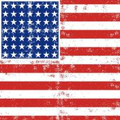 Blue red white stripes and stars grunge patterned american flag background — Stock Vector