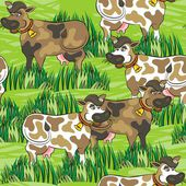 Happy eating cows free run on sunny summer day animal farm life on green messy background seamless pattern — Stock Vector