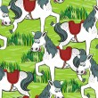 Happy white horse free run on sunny summer day animal farm life illustration on green messy background seamless pattern — Stock Vector