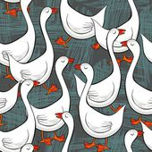 White gooses free run on sunny summer day animal farm life illustration on dark gray messy background seamless pattern — Stock Vector