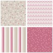 White pink gray blue little dotted flowers chevron stripes on light background romantic floral geometric seamless pattern set  — Stock Vector
