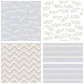 White gray blue messy leaves stripes chevron on light blue background romantic botanical geometric seamless pattern set — Stock Vector