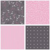 Pink white gray blue colorful border flowers with leaves dots and stripes on dark and pink background romantic floral geometric seamless pattern set — Stock Vector