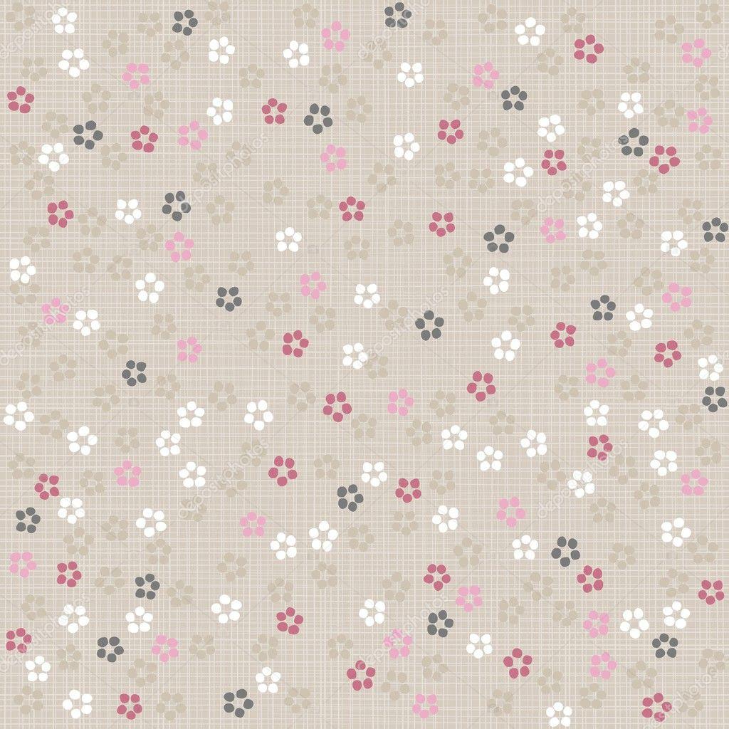 Wit roze grijs blauw gestippelde beetje bloemen op lichte achtergrond ...