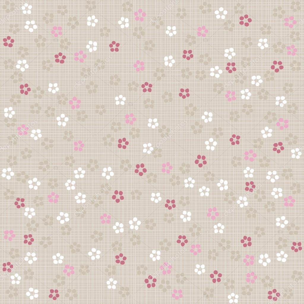 Tapete Rosa Wei? Gepunktet : Beige Pink Flowers Background