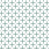 Beige turquoise white cross shaped joined elements in regular rows on white background geometric retro seamless pattern — Stock Vector