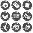 Eggs bread toast croissant bacon sausages fruit vegetables monochrome isolated gray flat icon set with light shadow on white background — Stock Vector