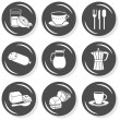 Orange juice sausage ham butter coffee milk cups cutlery monochrome isolated gray flat icon set with light shadow on white background — Stock Vector