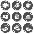 Plate mug cheese jam pancakes cereal milk cookies fruit vegetables monochrome isolated gray flat icon set with light shadow on white background  — Stock Vector