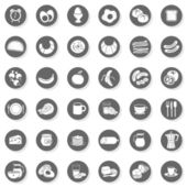 36 eggs bread fruit vegetables juice milk cereal meat sausages cheese cutlery coffee monochrome isolated gray flat icon set with light shadow on white background — Stock Vector