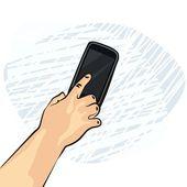 Adam telefon smartphone renkli resimde beyaz zemin üzerine ekrana dokunmak — Stok Vektör