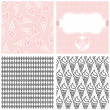 Stock Vector: Ice cream in horns dessert monochrome white pink and gray graphic sweet seamless pattern set