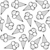 Ice cream in horns messy dessert monochrome white and gray graphic sweet seamless pattern on white background — Stock Vector