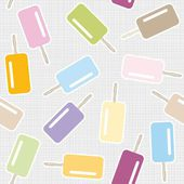 Ice cream on stick messy dessert colorful graphic sweet seamless pattern on light gray background — Stock Vector