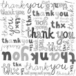 Thank you gray black white hand written announce on white background graphic typographic seamless pattern — Imagen vectorial