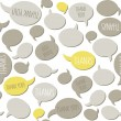 Thank you on gray yellow talk bubbles on white background seamless pattern — Stock Vector