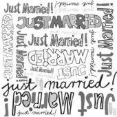 Juste marié gris noir blanc manuscrite annoncer sur graphique motif typographique sans soudure de fond blanc — Vecteur
