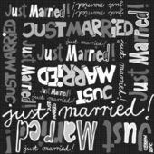 Just married gray black white hand written announce on dark background graphic typographic seamless pattern — Stock Vector