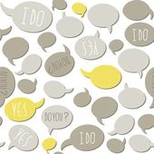 Do you yes I do gray yellow talk bubbles on white background seamless pattern — Stock Vector