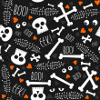 Halloween related skulls bones eyes hearts and leaves on dark background seamless pattern — Stock Vector