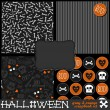 Gray white orange bones stripes skulls hearts seamless pattern set with blank frame and boo! sticker — Stock Vector #29545801