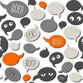 Halloween relacionados con texto y diseños en naranja gris hablan burbujas en patrón transparente fondo blanco — Vector de stock
