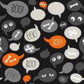 Halloween relacionados con texto y diseños en naranja gris hablan burbujas de patrones sin fisuras de fondo oscuro — Vector de stock
