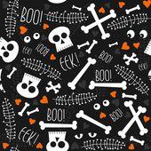 Halloween correlati teschi ossa occhi cuori e foglie sul pattern di sfondo scuro senza soluzione di continuità — Vettoriale Stock