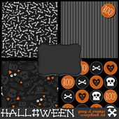 Gray white orange bones stripes skulls hearts seamless pattern set with blank frame and boo! sticker — Stock Vector