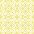 Stock Vector: Retro multiple white circles in rows on sunny yellow background abstract geometric seamless pattern