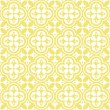 Stock Vector: Retro white flower shaped elements in rows on sunny yellow background abstract geometric seamless pattern