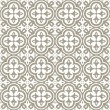 Retro white clover shaped elements in rows on gray brown background abstract geometric seamless pattern — Stock vektor