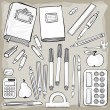 Different school tools monochrome white gray set isolated elements on light background — Stock Vector #30033685
