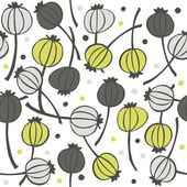 Green gray messy poppy seed fruit pattern with seeds doodle seamless pattern on white background — Stock Vector