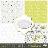 Green gray messy floral dotted typographic seamless pattern set with two frames your scrapbook library — Stock Vector