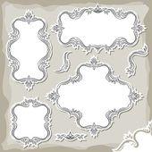 Doodle floral vintage marco establece elementos aislados blancos gris sobre fondo claro — Vector de stock