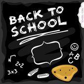 暗い黒板学校教育カラフルなイラスト上の白い学校のテキストに戻る — ストックベクタ