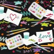 Love and hearts colorful painting in messy place preschool school education love seamless pattern on dark background — Stock Vector #30248591