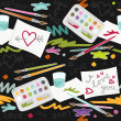 I love you colorful painting in messy place preschool school education love seamless pattern on dark background — Stok Vektör