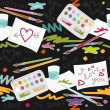 I love you colorful painting in messy place preschool school education love seamless pattern on dark background — Stockvectorbeeld