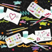 I love you colorful painting in messy place preschool school education love seamless pattern on dark background — Vettoriale Stock