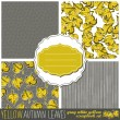 Yellow brown messy leaves with colorful retro style frames abstract botanical seamless pattern set — Stock Vector