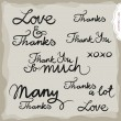 Love and thanks hand drawn grateful monochrome inscription set on light background  — Stock Vector